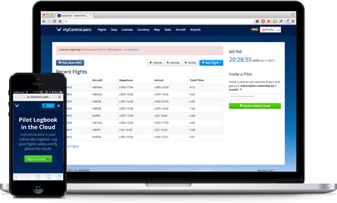 Log your flights in your web browser or with your mobile device.